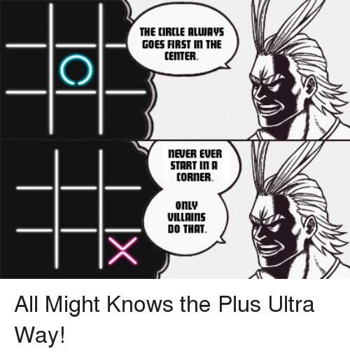 Anime, Bad, and Game: THE CIRCLE ALWAVS  GOES FIRST n THE  CENTER  NEUER EUER  START In A  CORNER  onLv  VILLAINS  DO THAT All Might Knows the Plus Ultra Way!