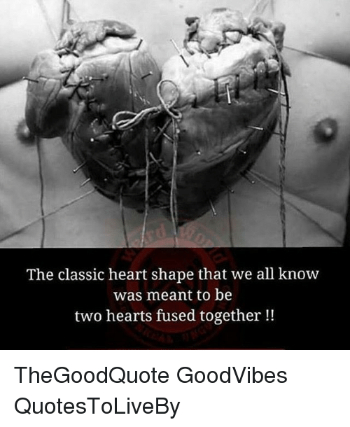 heart shape: The classic heart shape that we all know  was meant to be  two hearts fused together TheGoodQuote GoodVibes QuotesToLiveBy