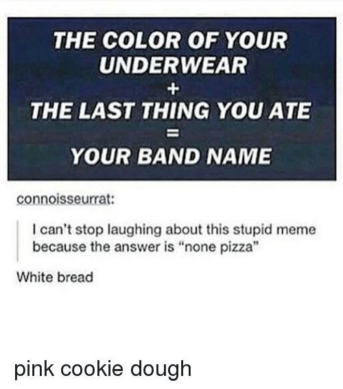 "Stupid Memes: THE COLOR OF YOUR  UNDERWEAR  THE LAST THING YOU ATE  YOUR BAND NAME  connoisseurrat:  I can't stop laughing about this stupid meme  because the answer is ""none pizza""  White bread pink cookie dough"