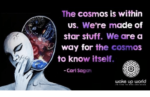 Star, Stuff, and World: The cosmos is within  US. We're made of  star stuff. We are a  way for the cosmos  to know itself.  -Carl Sagan  wake up world  ITS TIMETO RISEAND SHINE