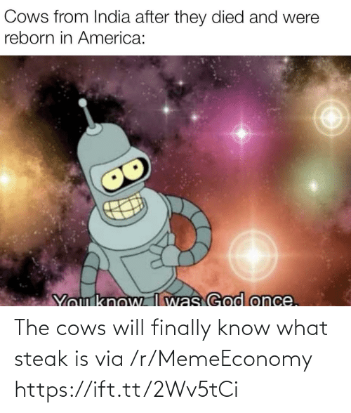 Know What: The cows will finally know what steak is via /r/MemeEconomy https://ift.tt/2Wv5tCi