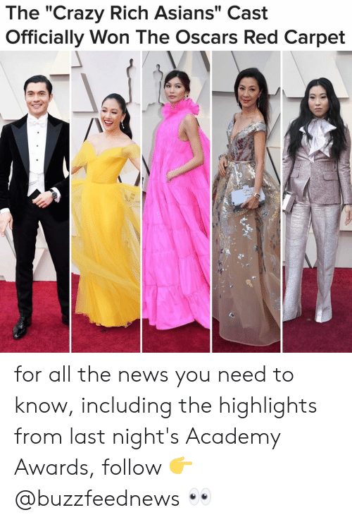 "Oscars: The ""Crazy Rich Asians"" Cast  Officially Won The Oscars Red Carpet for all the news you need to know, including the highlights from last night's Academy Awards, follow 👉@buzzfeednews 👀"