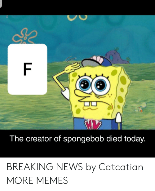 Dank, Memes, and News: The creator of spongebob died today. BREAKING NEWS by Catcatian MORE MEMES