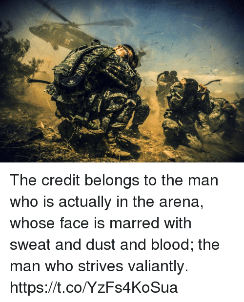 Memes, 🤖, and Blood: The credit belongs to the man who is actually in the arena, whose face is marred with sweat and dust and blood; the man who strives valiantly. https://t.co/YzFs4KoSua