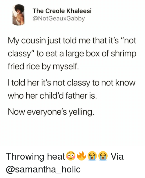 "holic: The Creole Khaleesi  @NotGeauxGabby  My cousin just told me that it's ""not  classy"" to eat a large box of shrimp  fried rice by myself  I told her it's not classy to not know  who her child'd father is.  Now everyone's yelling Throwing heat😳🔥😭😭 Via @samantha_holic"
