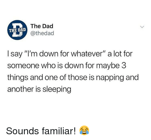 "Dad, Memes, and Sleeping: The Dad  @thedad  THE DA  I say ""I'm down for whatever"" a lot for  someone who is down for maybe 3  things and one of those is napping and  another is sleeping Sounds familiar! 😂"