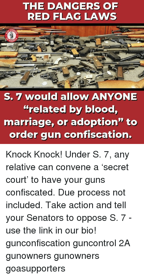 "Guns, Marriage, and Memes: THE DANGERS OF  RED FLAG LAWS  AMER  S. 7 would allow ANYONE  ""related by blood,  marriage, or adoption"" to  order gun confiscation. Knock Knock! Under S. 7, any relative can convene a 'secret court' to have your guns confiscated. Due process not included. Take action and tell your Senators to oppose S. 7 - use the link in our bio! gunconfiscation guncontrol 2A gunowners gunowners goasupporters"