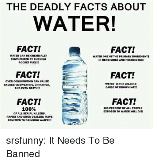Anaconda, Drinking, and Facts: THE DEADLY FACTS ABOUT  WATER!  FACT!  FACT!  WATER CAN BE CHEMICALLY  SYNTHESIZED BY BURNING  ROCKET FUEL!!!  WATER ONE OF THE PRIMARY INGRIDIENTS  IN HERBICIDES AND PESTICIDES!!!  FACT!  FACT!  OVER CONSUMPTION CAN CAUSE  EXCESSIVE SWEATING, URINATION  AND EVEN DEATH!!!  WATER IS THE LEADING  CAUSE OF DROWNING!!!  FACT!  FACT!  100%  100 PERCENT OF ALL PEOPLE  EXPOSED TO WATER WILL DIE  OF ALL SERIAL KILLERS  RAPIST AND DRUG DEALERS HAVE  ADMITTED TO DRINKING WATER!!! srsfunny:  It Needs To Be Banned
