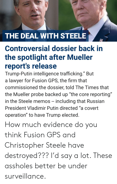 """Lawyer, Vladimir Putin, and Gps: THE DEAL WITH STEELE  Controversial dossier back in  the spotlight after Mueller  report's release  Trump-Putin intelligence trafficking."""" But  a lawyer for Fusion GPS, the firm that  commissioned the dossier, told The Times that  the Mueller probe backed up """"the core reporting""""  in the Steele memos - including that Russian  President Vladimir Putin directed """"a covert  operation"""" to have Trump elected How much evidence do you think Fusion GPS and Christopher Steele have destroyed??? I'd say a lot. These assholes better be under surveillance."""