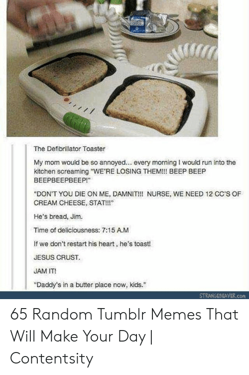"Jesus, Memes, and Run: The Defibrillator Toaster  My mom would be so annoyed... every morning I would run into the  kitchen screaming ""WE'RE LOSING THEM!!! BEEP BEEP  ВЕЕРВЕЕРВЕЕР!""  ""DON'T YOU DIE ON ME, DAMNIT!!! NURSE, WE NEED 12 CC'S OF  CREAM CHEESE, STAT!  He's bread, Jim.  Time of deliciousness: 7:15 A.M  If we don't restart his heart, he's toast!  JESUS CRUST.  JAM IT!  ""Daddy's in a butter place now, kids.  STRANGEBEAVER.com 65 Random Tumblr Memes That Will Make Your Day 