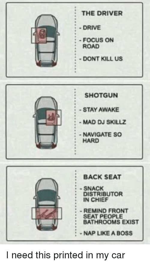 Navigate: THE DRIVER  - DRIVE  : - FOCUS ON  :ROAD  DONT KILL US  SHOTGUN  -STAY AWAKE  MAD DJ SKILLZ  :-NAVIGATE SO  HARD  :BACK SEAT  SNACK  DISTRIBUTOR  IN CHIEF  REMIND FRONT  : SEAT PEOPLE  : BATHROOMS EXIST  2  :-NAP LIKE A BOSS I need this printed in my car