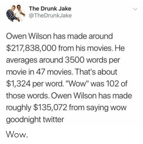 """Drunk, Movies, and Twitter: The Drunk Jake  @TheDrunkJake  Owen Wilson has made around  $217,838,000 from his movies. He  averages around 3500 words per  movie in 47 movies. That's about  $1,324 per word. """"Wow"""" was 102 of  those words. Owen Wilson has made  roughly $135,072 from saying wow  goodnight twitter Wow."""