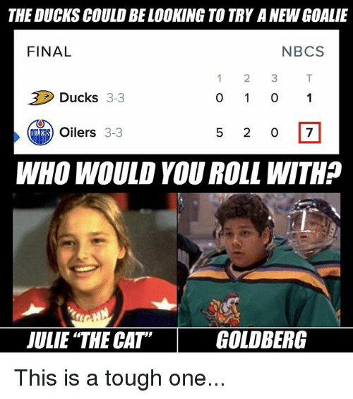 goldbergs: THE DUCKS COULD BELOOKING TO TRY ANEWGOALIE  FINAL  N BCS  2 3  Ducks 3-3  Oilers  3-3  WHO WOULD YOU ROLL WITHP  JULIE THE CATT GOLDBERG This is a tough one...
