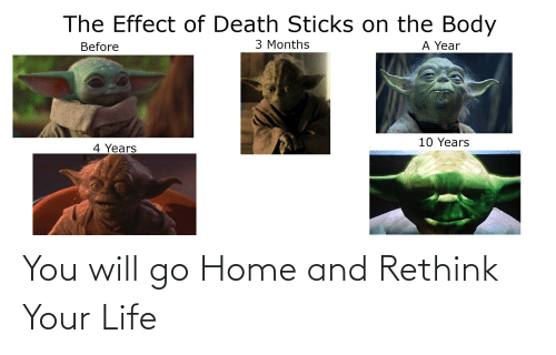 Life, Death, and Home: The Effect of Death Sticks on the Body  3 Months  A Year  Before  10 Years  4 Years You will go Home and Rethink Your Life