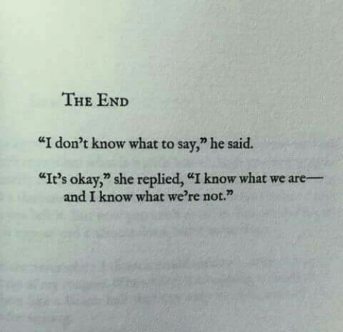 "Okay, She, and What: THE END  ""I don't know what to say,"" he said.  ""It's okay,"" she replied, ""I know what we are-  and I know what we're not."""