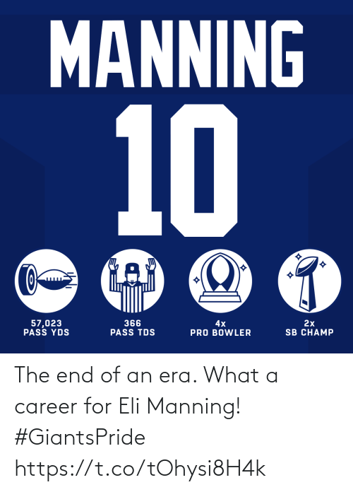 career: The end of an era. What a career for Eli Manning! #GiantsPride https://t.co/tOhysi8H4k