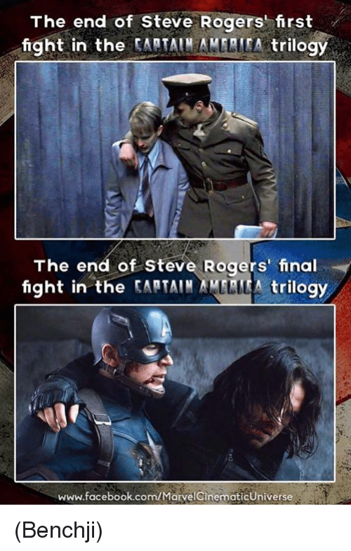 final fight: The end of Steve Rogers first  fight in the  CAPTAIN AMLLITA trilogy  The end of Steve Rogers' final  fight in the  tARTAIN trilogy  www.facebook.com/Marve (Benchji)