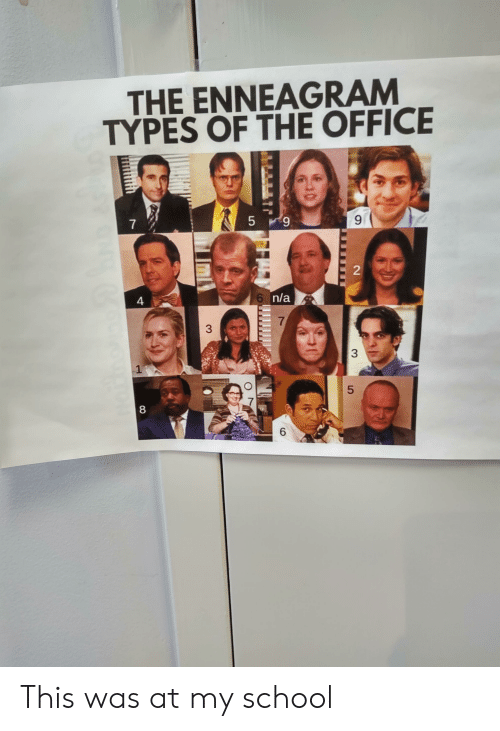 School, The Office, and Office: THE ENNEAGRAM  TYPES OF THE OFFICE  5 9  6P  7  6 n/a  4  7  6  2  3  LO  3 This was at my school