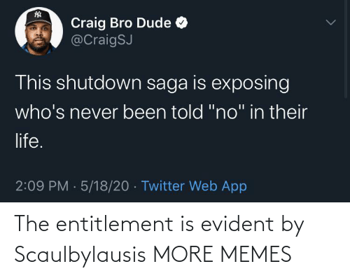 entitlement: The entitlement is evident by Scaulbylausis MORE MEMES
