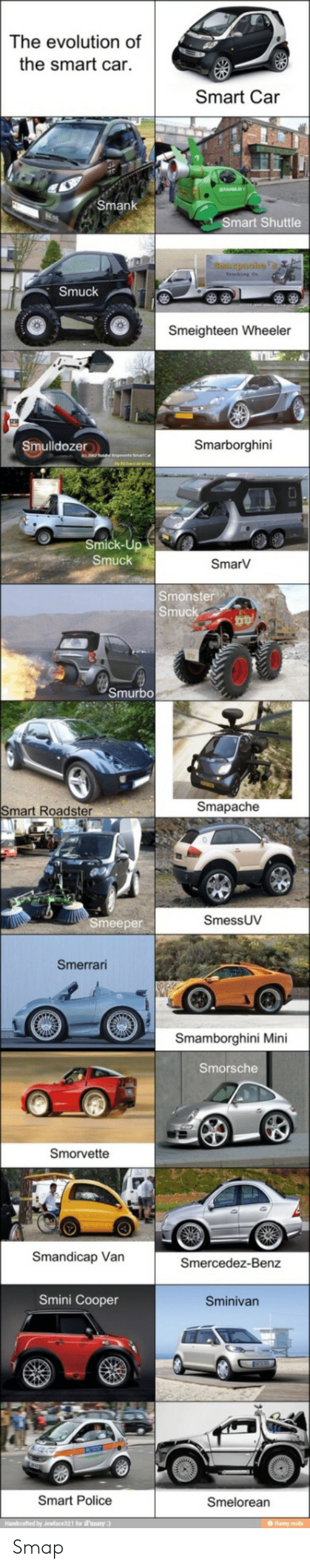Police, Evolution, and Car: The evolution of  the smart car.  Smart Car  Smank  Smart Shuttle  puahs  Smuck  Smeighteen Wheeler  Smarborghini  Smulldozer  Smick-Up  Smuck  SmarV  Smonster  Smuck  Smurbo  Smapache  Smart Roadster  SmessUV  Smeeper  Smerrari  Smamborghini Mini  Smorsche  Smorvette  Smandicap Van  Smercedez-Benz  Smini Cooper  Sminivan  Smart Police  Smelorean  Handerafted by Jewface321 for Fanany:)  IS Smap
