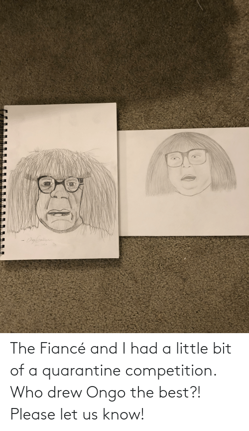 drew: The Fiancé and I had a little bit of a quarantine competition. Who drew Ongo the best?! Please let us know!