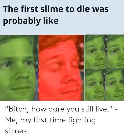 """Bitch, Live, and Time: The first slime to die was  probably like """"Bitch, how dare you still live."""" -Me, my first time fighting slimes."""