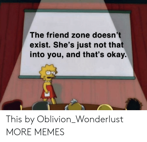 The Friend Zone: The friend zone doesn't  exist. She's just not that  into you, and that's okay. This by Oblivion_Wonderlust MORE MEMES
