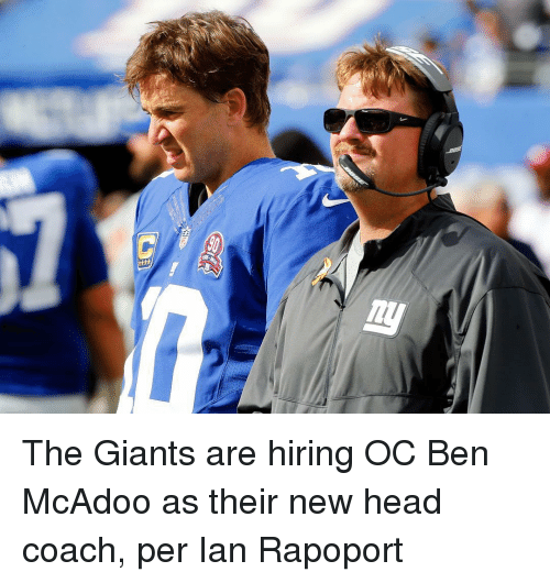 Ben McAdoo, Head, and Sports: The Giants are hiring OC Ben McAdoo as their new head coach, per Ian Rapoport