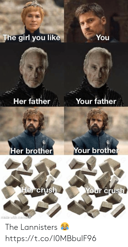Wade: The girl you like  You  Your father  Her father  Your brother  Her brother  Her crush  Your crush  wade with me.atic The Lannisters 😂 https://t.co/l0MBbuIF96