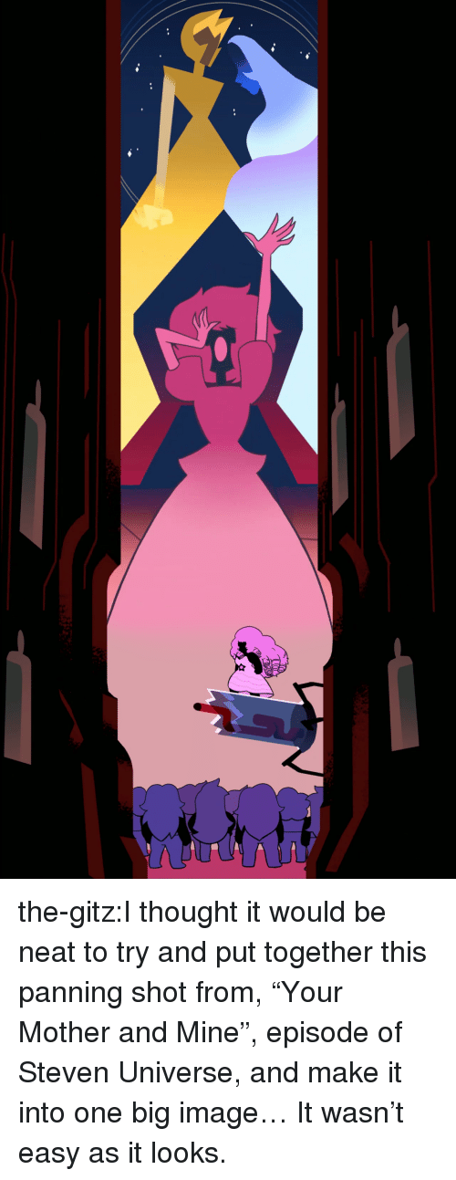 """Steven Universe: the-gitz:I thought it would be neat to try and put together this panning shot from, """"Your Mother and Mine"""", episode of Steven Universe, and make it into one big image… It wasn't easy as it looks."""