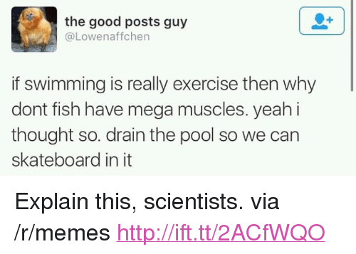 "Memes, Skateboarding, and Yeah: the good posts guy  @Lowenaffchen  if swimming is really exercise then why  dont fish have mega muscles. yeah i  thought so. drain the pool so we can  skateboard in it <p>Explain this, scientists. via /r/memes <a href=""http://ift.tt/2ACfWQO"">http://ift.tt/2ACfWQO</a></p>"