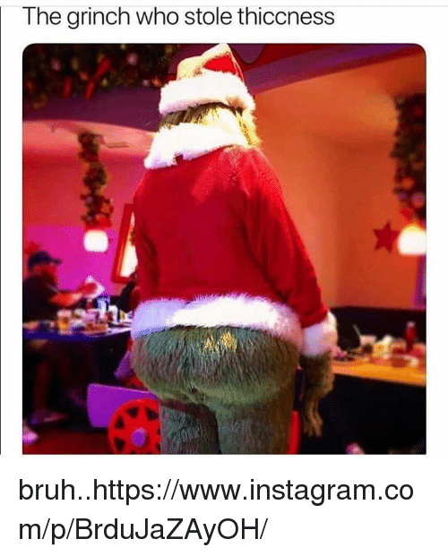 Bruh, The Grinch, and Instagram: The grinch who stole thiccness bruh..https://www.instagram.com/p/BrduJaZAyOH/