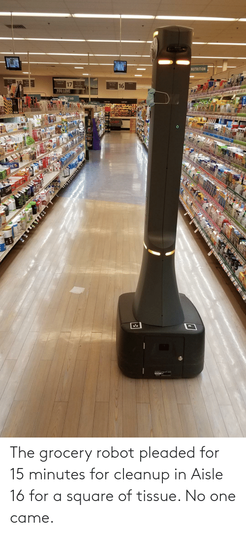 came: The grocery robot pleaded for 15 minutes for cleanup in Aisle 16 for a square of tissue. No one came.