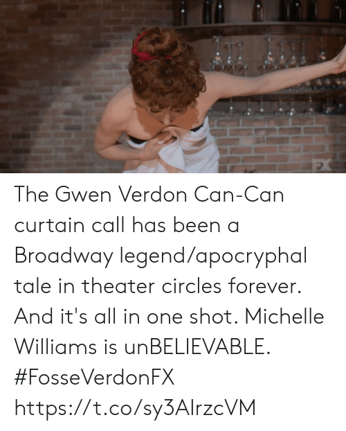 all in one: The Gwen Verdon Can-Can curtain call has been a Broadway legend/apocryphal tale in theater circles forever. And it's all in one shot. Michelle Williams is unBELIEVABLE. #FosseVerdonFX https://t.co/sy3AIrzcVM