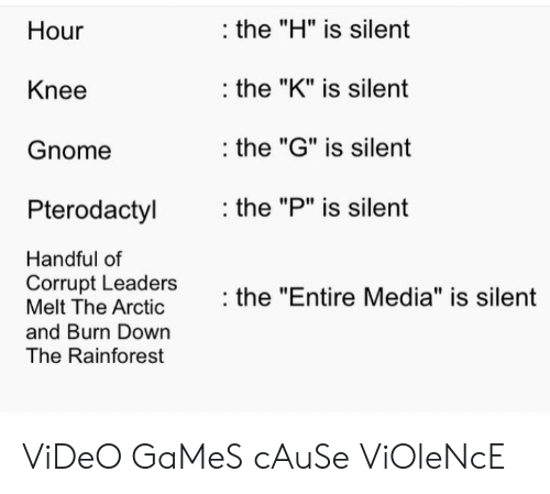 """Melt: the """"H"""" is silent  Hour  the """"K"""" is silent  Knee  the """"G"""" is silent  Gnome  the """"P"""" is silent  Pterodactyl  Handful of  Corrupt Leaders  Melt The Arctic  the """"Entire Media"""" is silent  and Burn Down  The Rainforest ViDeO GaMeS cAuSe ViOleNcE"""