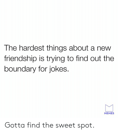 the sweet: The hardest things about a new  friendship is trying to find out the  boundary for jokes.  MEMES Gotta find the sweet spot.
