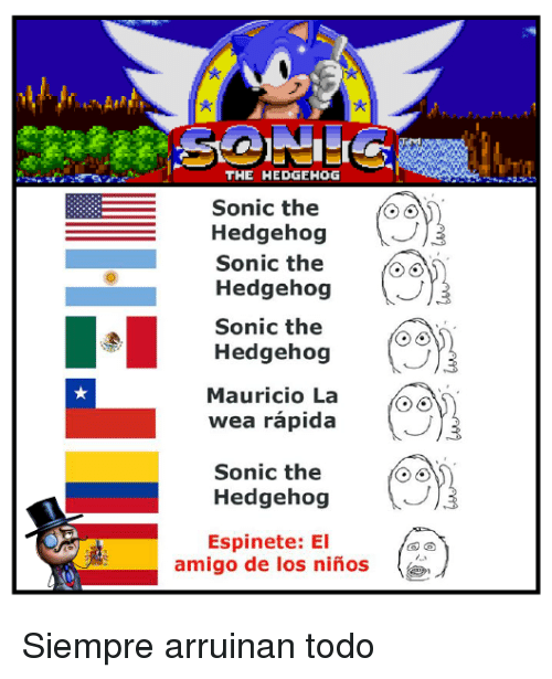 Memes, Sonic the Hedgehog, and Hedgehog: THE HEDGEHOG  Sonic the  Hedgehog  Sonic the  Hedgehog  Sonic the  Hedgehog  Mauricio La  wea rapida  Sonic the  Hedgehog  Espinete: El  amigo de los ninos Siempre arruinan todo