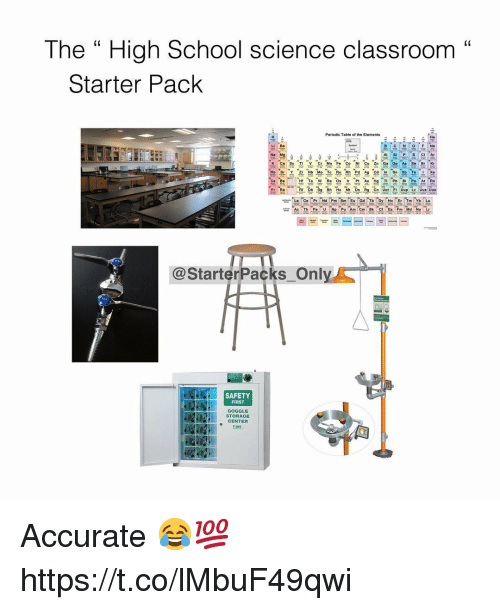 "School, Classroom, and Science: The "" High School science classroom""  C0  Starter Pack  Periodic Table of the Elements  He  Li Be  P SCI Ar  K Ca Sc Ti V Cr Mn F Co NI C ZnGa Ge As SeBr Kr  Rb Sr Y Z Nb Mo Te Ru Rh Pd Ag Cd In Sn Sb TeXe  Eu Gd Tb  @StarterPacks Onl  SAFETY  FIRST  GOGGLE  STORAGE  CENTER  啪 Accurate 😂💯 https://t.co/lMbuF49qwi"