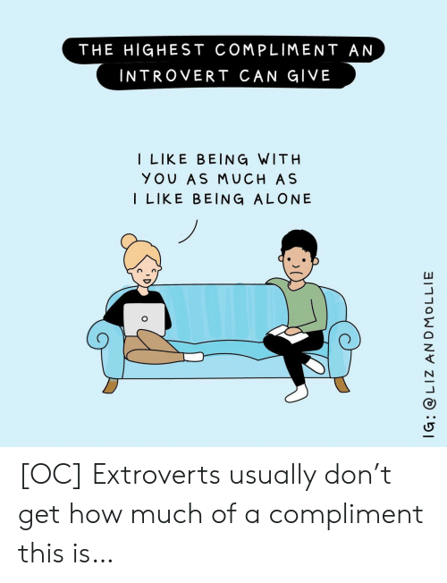 liz: THE HIGHEST COMPLIMENT AN  INTROVERT CAN GIVE  I LIKE BEING WITH  YOU AS MUCH AS  I LIKE BEING ALONE  IG: @ LIZ ANDMOLLIE [OC] Extroverts usually don't get how much of a compliment this is…