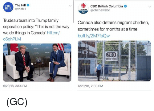 """Bailey Jay, Children, and Family: The Hill e  @thehill  CBC British Columbia  aneS@cbcnewsbc  THE  BC  Trudeau tears into Trump family  separation policy: """"This is not the way  we do things in Canada"""" hill.cm/  oSghPLM  Canada also detains migrant children,  sometimes for months at a time  buff.ly/2M7faQw  200  6/20/18, 3:54 PM  6/20/18, 2:03 PM (GC)"""
