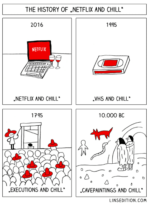 """Vhs And Chill: THE HISTORY OF NETFLIX AND CHILL*  2016  1945  NETFLIX  NETFLIX AND CHILL""""  VHS AND CHILL  1745  10.000 BC  EXECUTIONS AND CHILL  CAVEPAINTINGS AND CHILL  LINSEDITION.COM"""