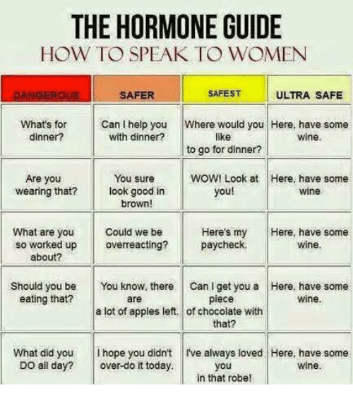 hormonal: THE HORMONE GUIDE  HOW TO SPEAK TO WOMEN  SAFEST  ULTRA SAFE  SAFER  Can I help you  Where would you  Here, have some  What's for  with dinner?  dinner?  like  Wine  to go for dinner?  Are you  You sure  WOW! Look at Here, have some  you!  wearing that? look good in  Wine  brown!  Could we be  Here's my  Here, have some  What are you  so worked up  paycheck.  wine  overreacting?  about?  Should you be  You know, there can l get you a Here, have some  eating that?  wine.  piece  are  a lot of apples left. of chocolate with  that?  What did you  hope you didn't l've always loved Here, have some  DO all day?  over-do it today.  you  wine  in that robe!