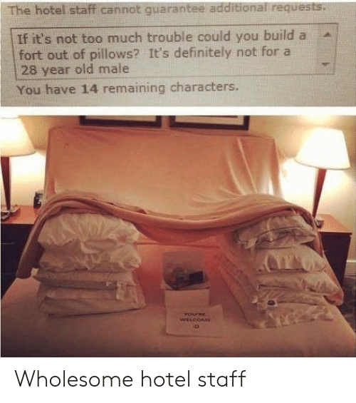 pillows: The hotel staff cannot quarantee additional requests.  If it's not too much trouble could you build a  fort out of pillows? It's definitely not for a  28 year old male  You have 14 remaining characters.  YOPRE  WELCOME Wholesome hotel staff