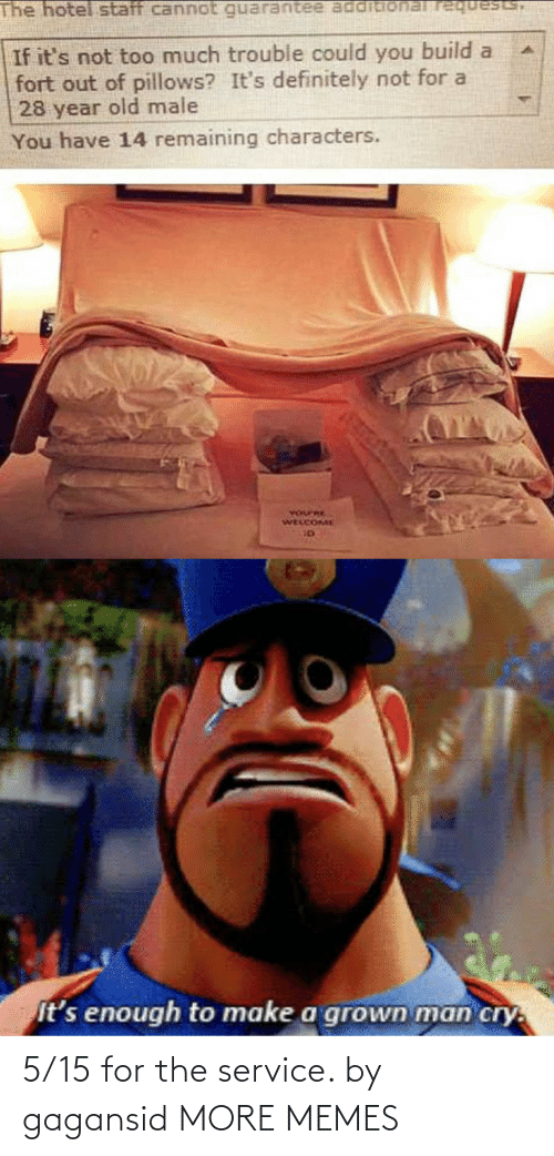 Dank, Definitely, and Memes: The hotel staff cannot requests,  If it's not too much trouble could you build a  fort out of pillows? It's definitely not for a  28 year old male  You have 14 remaining characters.  YOurRE  WELCOME  It's enough to make a grown man cry. 5/15 for the service. by gagansid MORE MEMES