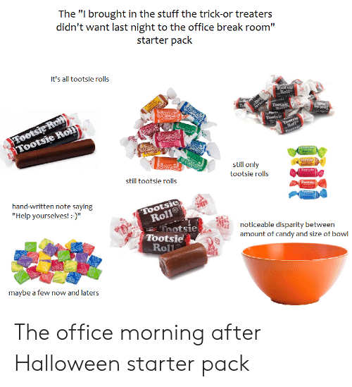 """Candy, Halloween, and Starter Packs: The """"I brought in the stuff the trick-or treaters  didn't want last night to the office break room""""  starter pack  it's all tootsie rolls  Tootsie  Roll  Roll  Tootsic  Rott  er1  soll  FTootste Roll  Tootsie Roll)  Tootsie  Tootsie  Roll  Tootsie  a  LInwasi  still only  Tootsie  still tootsie rolls  tootsie rolls  Tootsie  Tootsic  hand-written note saying  Tootsie  Roll  Thotsie  Tootsie  Roll  """"Help yourselves! -)""""  noticeable disparity between  amount of candy and size of bowl  maybe a few now and laters The office morning after Halloween starter pack"""