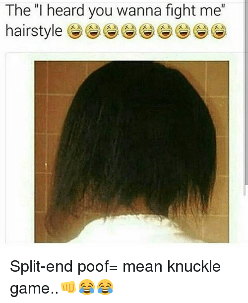 """Poofes: The """"I heard you wanna fight me"""" Split-end poof= mean knuckle game..👊😂😂"""