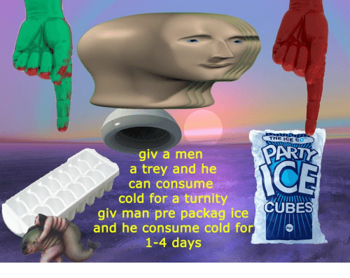 Cold, Art, and Ice: THE ICE C  ART  giv a men  a trey and he  can consume  NCE  cold for a turnityCUBES  giv man pre packag ice  and he consume cold for  1-4 days