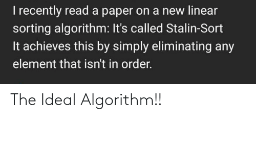 algorithm: The Ideal Algorithm!!
