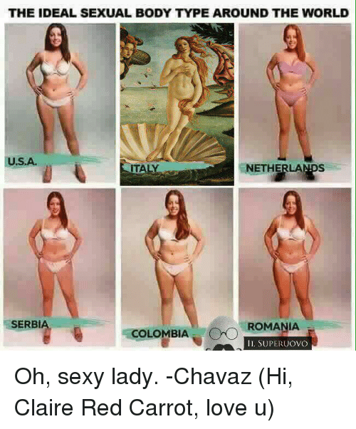 Sexying: THE IDEAL SEXUAL BODY TYPE AROUND THE WORLD  U.S.A.  ENETHE  AL  SERBI  COLOMBIA CPO  ROMANIA  IL SUPERUOVO Oh, sexy lady. -Chavaz  (Hi, Claire Red Carrot, love u)