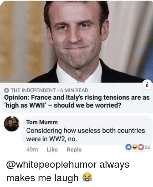 Memes, France, and 🤖: THE INDEPENDENT 6 MIN READ  Opinion: France and Italy's rising tensions are as  high as wwii' should we be worried?  Tom Mumm  Considering how useless both countrie:s  were in WW2, no  49m Like Reply  53 @whitepeoplehumor always makes me laugh 😂